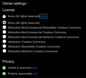 Flickr license options