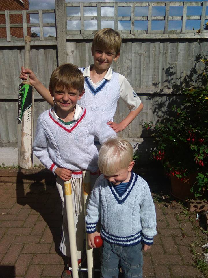 My lovely little cricketers in grandma's home knits