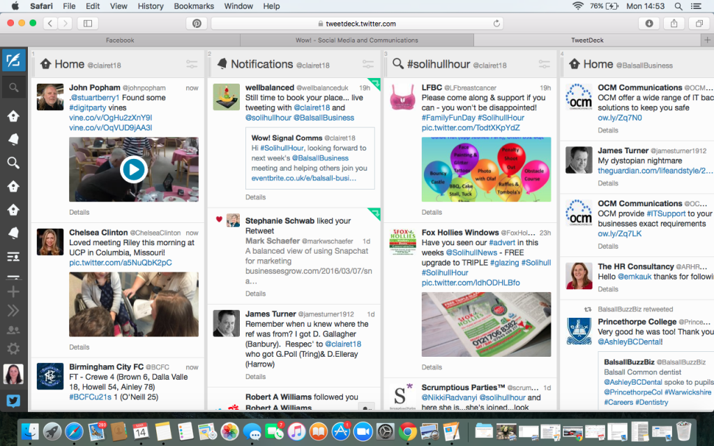 Tweet deck screen shot